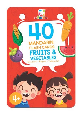Opredo 40 Mandarin Flash Cards: Fruits & Vegetables