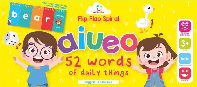 Opredo Flip Flap Spiral aiueo - 52 Words of Daily Things
