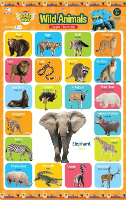 Opredo Poster 2 in 1 Gogo Dino: Wild Animals and Tame Animals