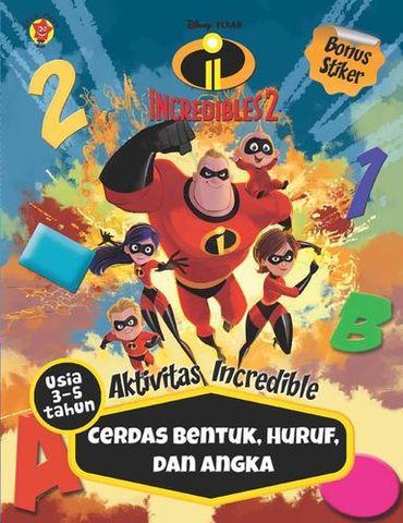 Aktivitas Incredibles 2 + Stiker: Cerdas Bentuk, Huruf, dan Angka