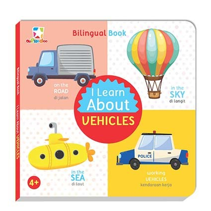 Opredo Bilingual book - I Learn About Vehicles