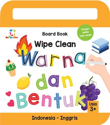 Opredo Board Book Wipe Clean: Warna & Bentuk