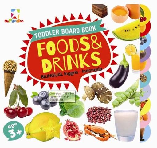 Opredo Toddler Board Book: Foods & Drinks