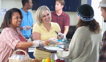 Women volunteering at soup kitchen thinkstockphotos