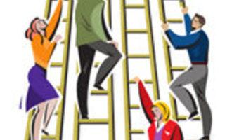 Women climbing ladder