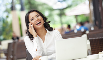 Happy businesswoman phone call thinkstockphotos