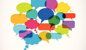 Speech bubbles into one thought bubble thinkstockphotos