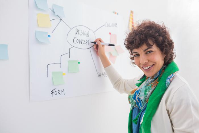 Designer writing on whiteboard thinkstock