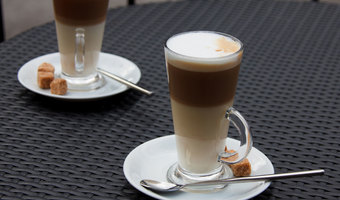 Two coffee lattes