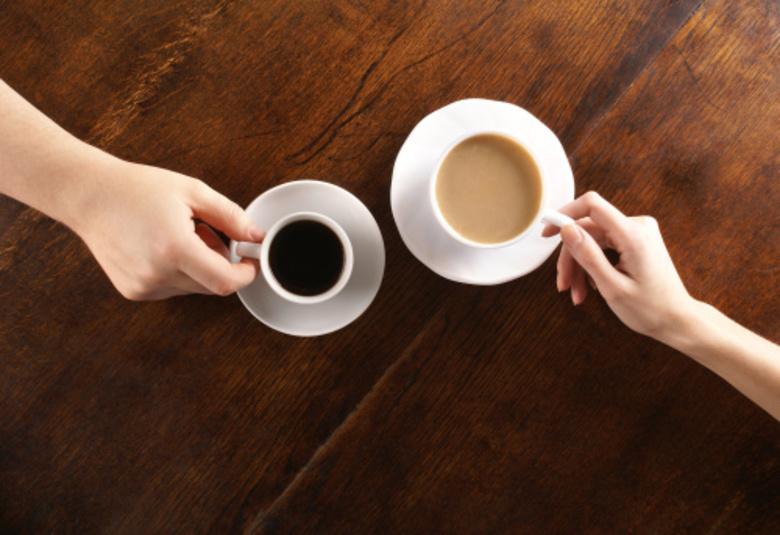 Having coffee