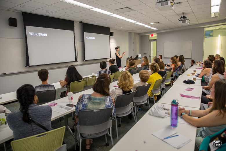 """Dorian Baroni offered """"Thrive 101 - How to hack your brain and tame your inner critic"""", a MaryTalk during William and Mary's first women's weekend."""