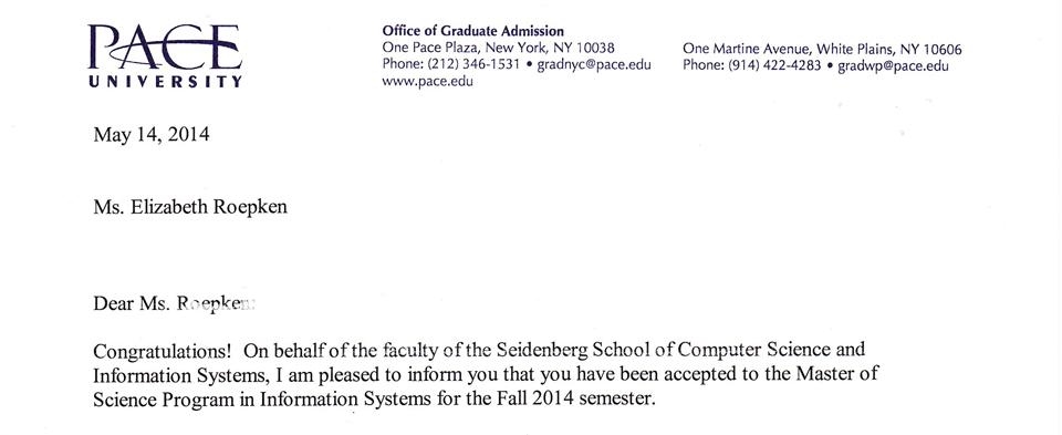 Pace University acceptance letter.
