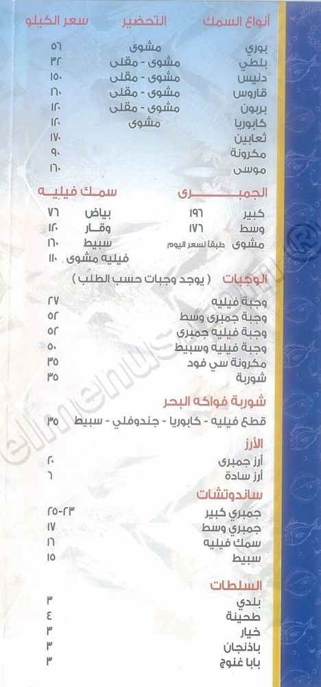 Nile fish scanned menu on cairo egypt for J j fish menu