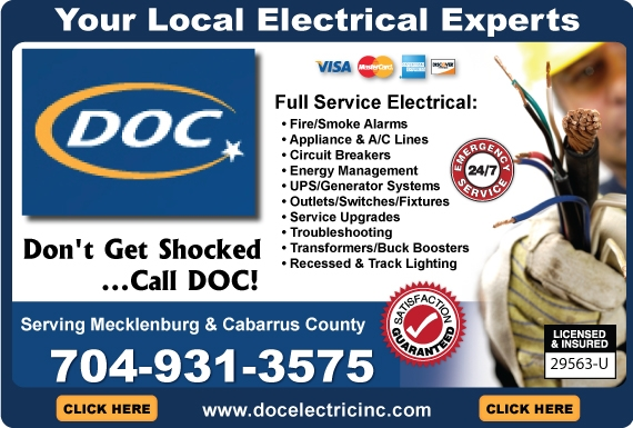 Exclusive Ad: DOC Electric Inc. - NC (704 Area Code)  7049313575 Logo