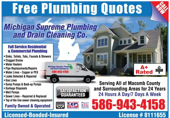 Exclusive Ad: Michigan Supreme Plumbing and Drain Cleaning  5869434158 Logo