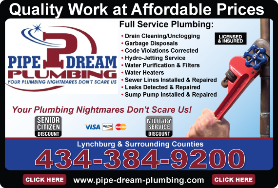 Exclusive Ad: Pipe Dream Plumbing  4343849200 Logo