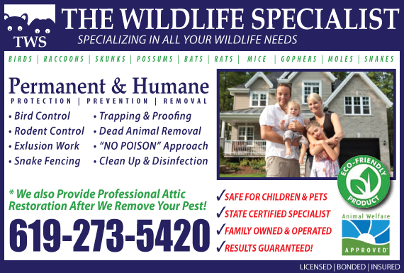 Exclusive Ad: The Wildlife Specialist - San Diego Encinitas 6192735420 Logo