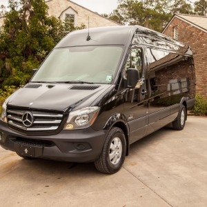 Executive Limo Services' Mercedes Van outside of a Louisiana home