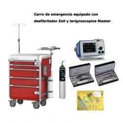Carro de emergencia equipado con desfibrilador Zoll y larignoscopios Riester