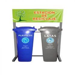 Estacion de reciclaje de dos contenedores VIC-120HD en linea sin ruedas colores a seleccionar Cat A1C-ECOL-240-HD1 A1 Contenedores