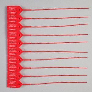 Candado de seguridad color rojo con área de escritura con 100 piezas Cat HCL-7820 Health Care Logistics