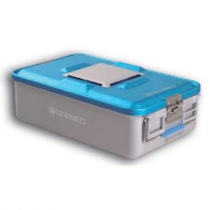 Contenedor aluminio de 465x280x100 mm con fondo no perforado, color azul y sistema de PTFE Cat DEM-88.440.10DAP Dewimed