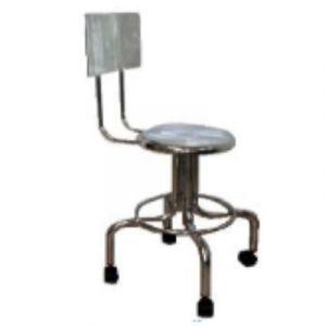 Banco giratorio asiento y respaldo cromado con ruedas Cat ARV-TUB-005 Arveol