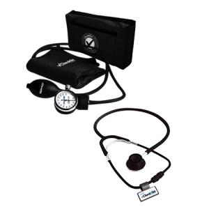 Kit de Baumanometro aneroide y Estetoscopio duplex color negro Mod. ECO Cat CHK-B2-4D Checkatek