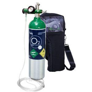 Equipo de oxigeno de 245 litros (con oxigeno) con regulador, puntas nasales y bolsa de transporte Cat HNY-KIT-MDC Handy