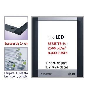 Negatoscopio doble LED, 8,000 LUX Cat SRY-PD-TB2H Slim Royal