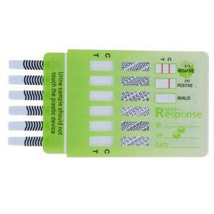 Panel para deteccion de 6 drogas (COC, THC, ANF, MANF, OPI, BZO) caja con 25 piezas Cat. RRS-2HMED14 Rapid Response