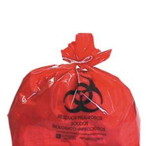 Bolsa de polietileno de baja densidad 60 X 80 cms, Roja , 28 Kg., Cal. 200, Impresa,  C/100 Cat A1C-LRO-61-200R A1 Contenedores