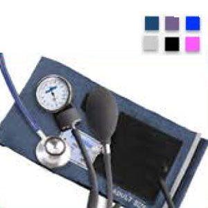 Baumanometro aneroide kit con estetoscopio de doble campana color azul Cat MES-HS-50B-C2V1 Medstar