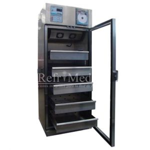 Refrigerador vertical de 7 pies para banco de sangre de acero inoxidable 1 puerta de cristal Cat REF-RBACDV-7 Refrimed