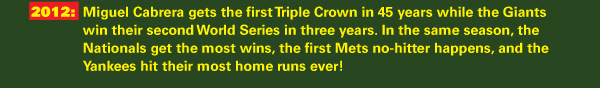 2012: Miguel Cabrera gets the first Triple Crown in 45 years while the Giants win their second World Series in three years. In the same season, the Nationals get the most wins, the first Mets no-hitter happens, and the Yankees hit their most home runs ever!