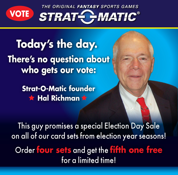 Strat-O-matic:Vote! Order four sets and get the fifth one freefor a limited time!