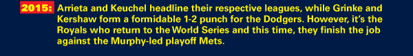 2015: Arrieta and Keuchel headline their respective leagues, while Grinke and Kershaw form a formidable 1-2 punch for the Dodgers. However, it's the Royals who return to the World Series and this time, they finish the job against the Murphy-led playoff Mets.