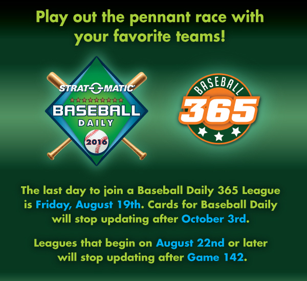 Play out the pennant race with your favorite teams!