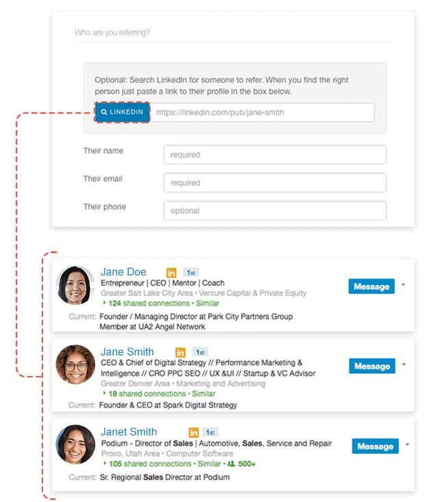 example searching linkedin for someone to refer