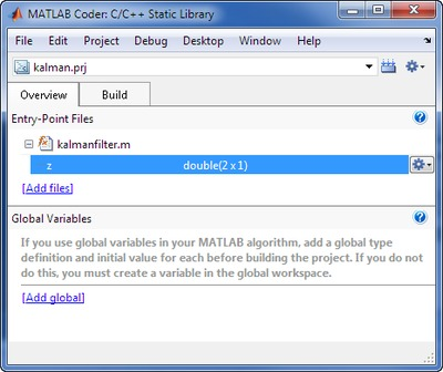 Generating C code from MATLAB algorithms