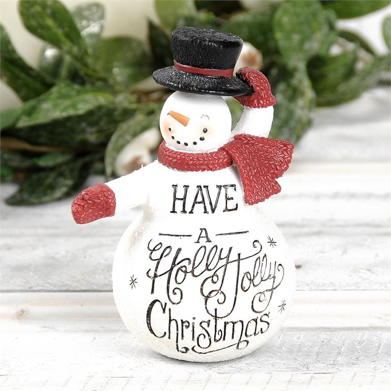 Christmas Top Hat.Holly Jolly Christmas Snowman With Top Hat