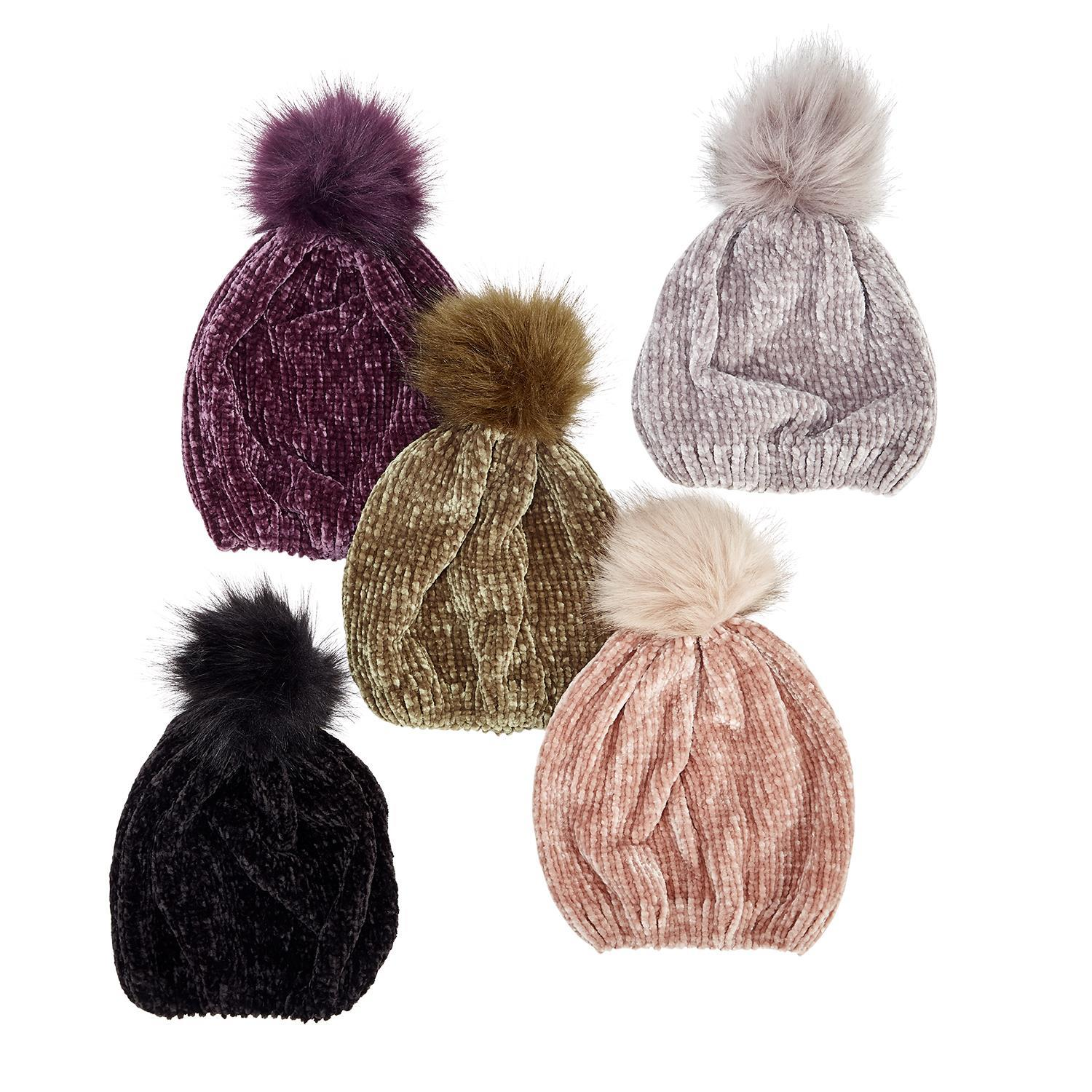 81b6a75edc Chenille Hat w Pom Pom Assorted 5 Colors