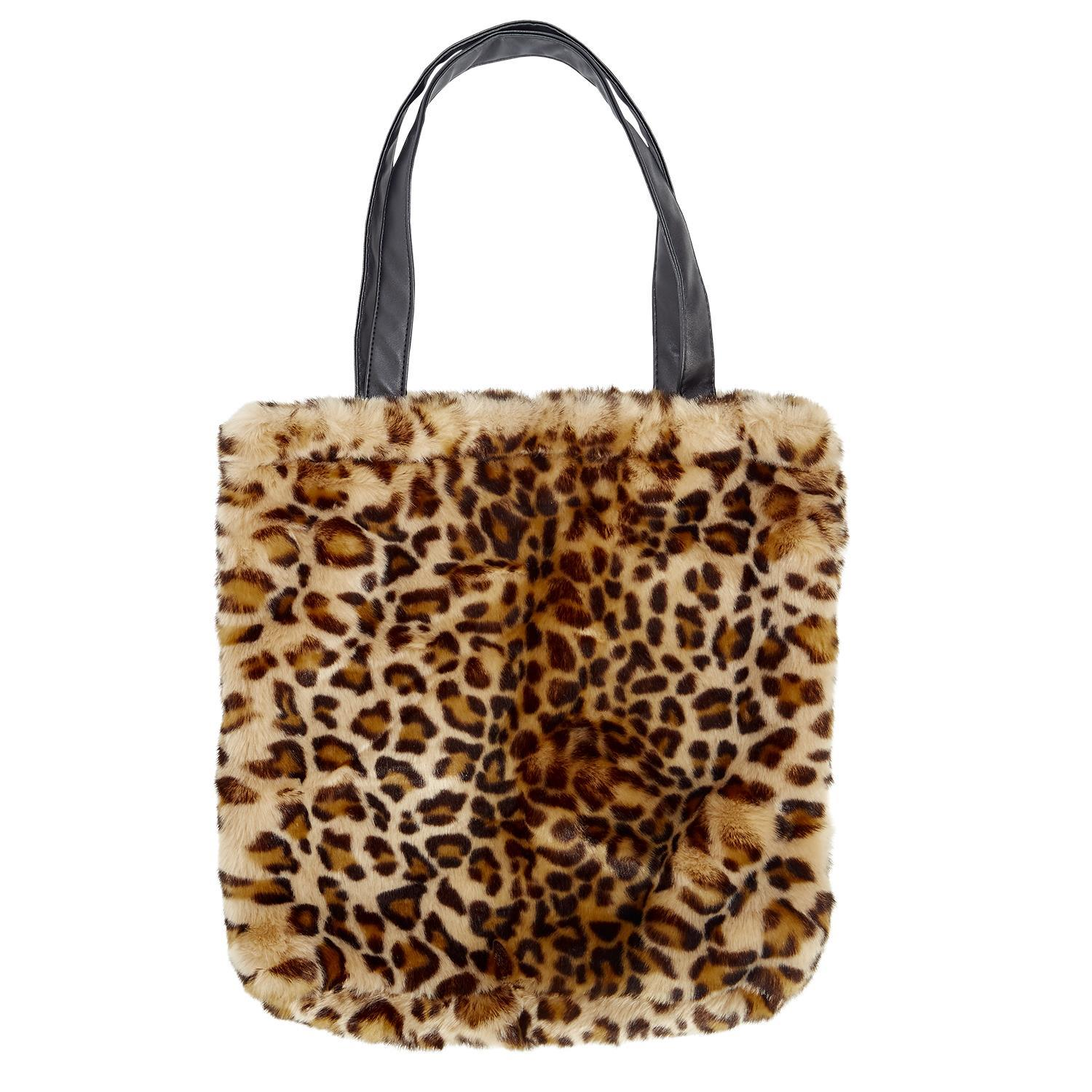 625d02e82a Leopard Pattern Faux Fur Tote with Vegan Leather Straps