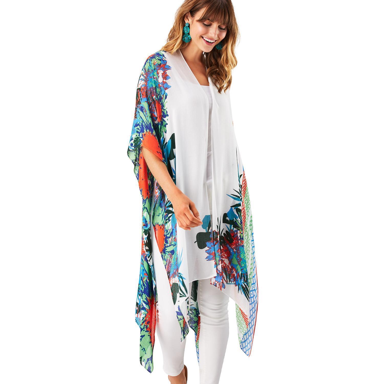 8c20861d1acbd5 Floral & Leaf Print Kimono