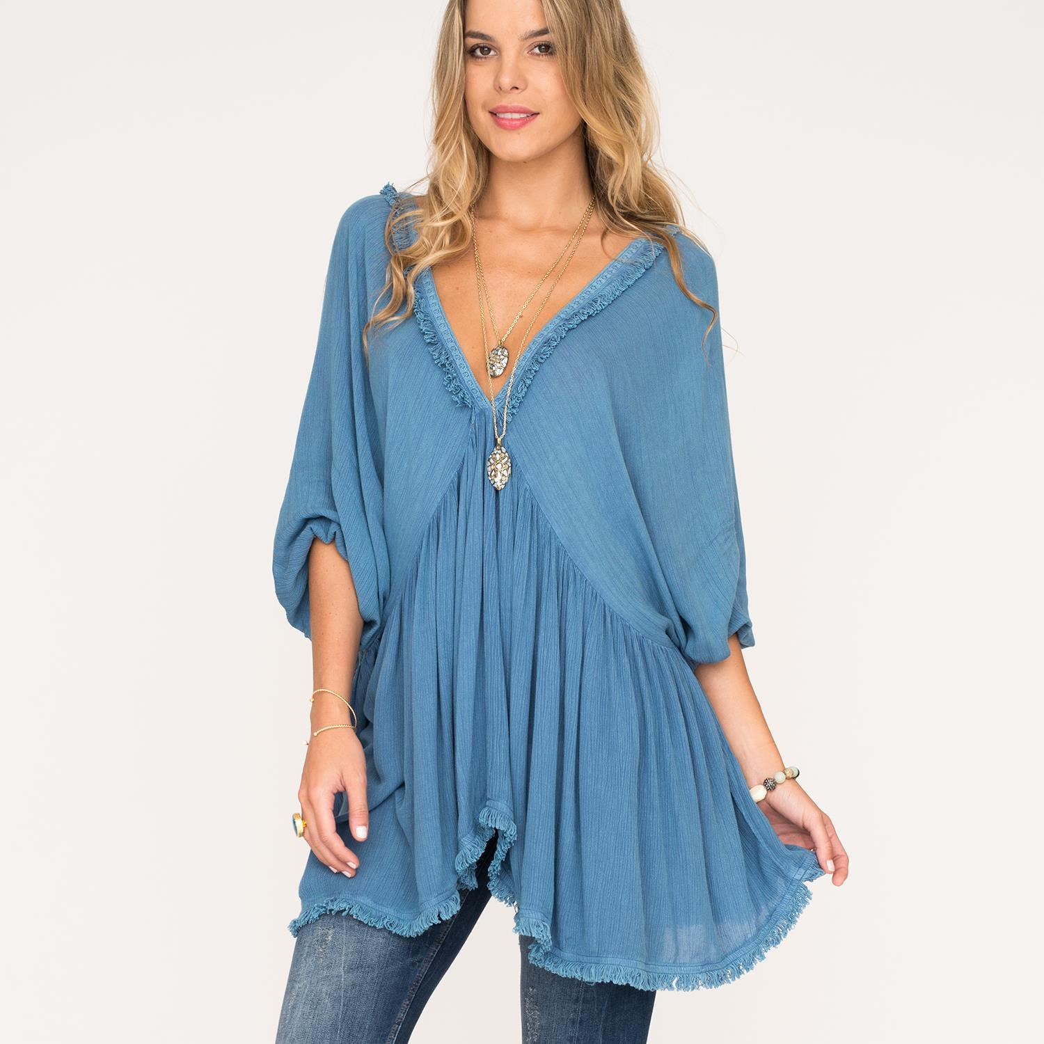 007b631969a6ad Denim Blue V Neck Loose Top One Size Fits Most
