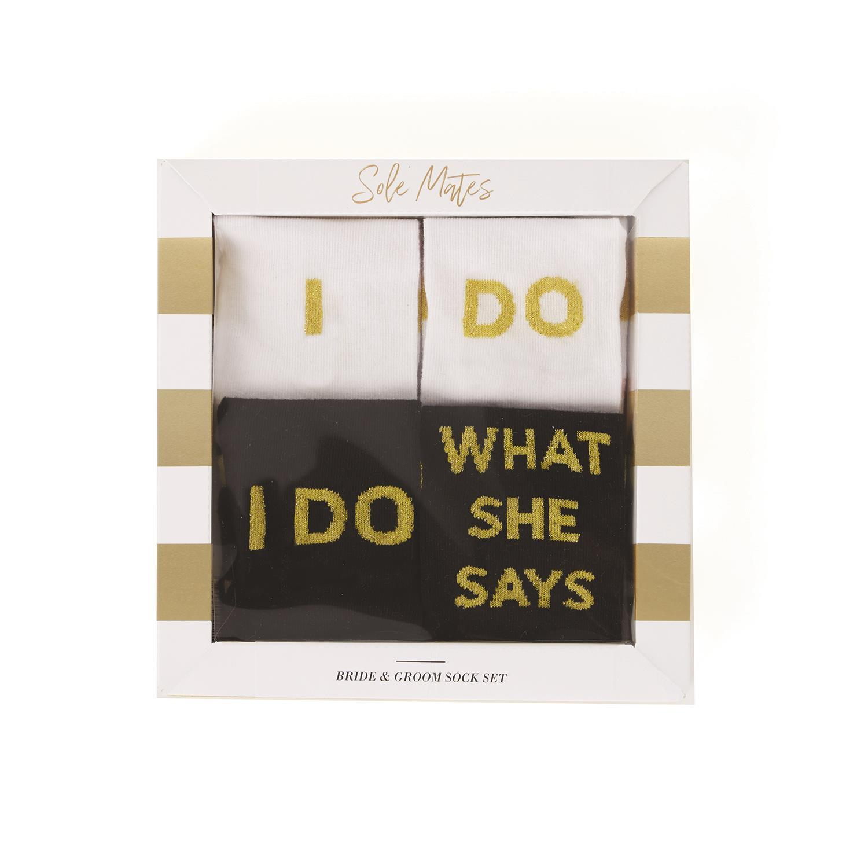 I Do What She Says 52114 I Do Two/'s Company Bride /& Groom Socks Gift Set