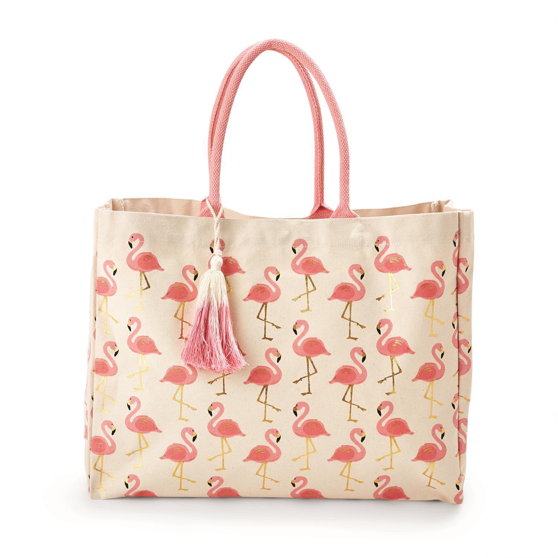 2e5442a93f34e Flamingo Pattern Tote Bag Asst 2 Colors