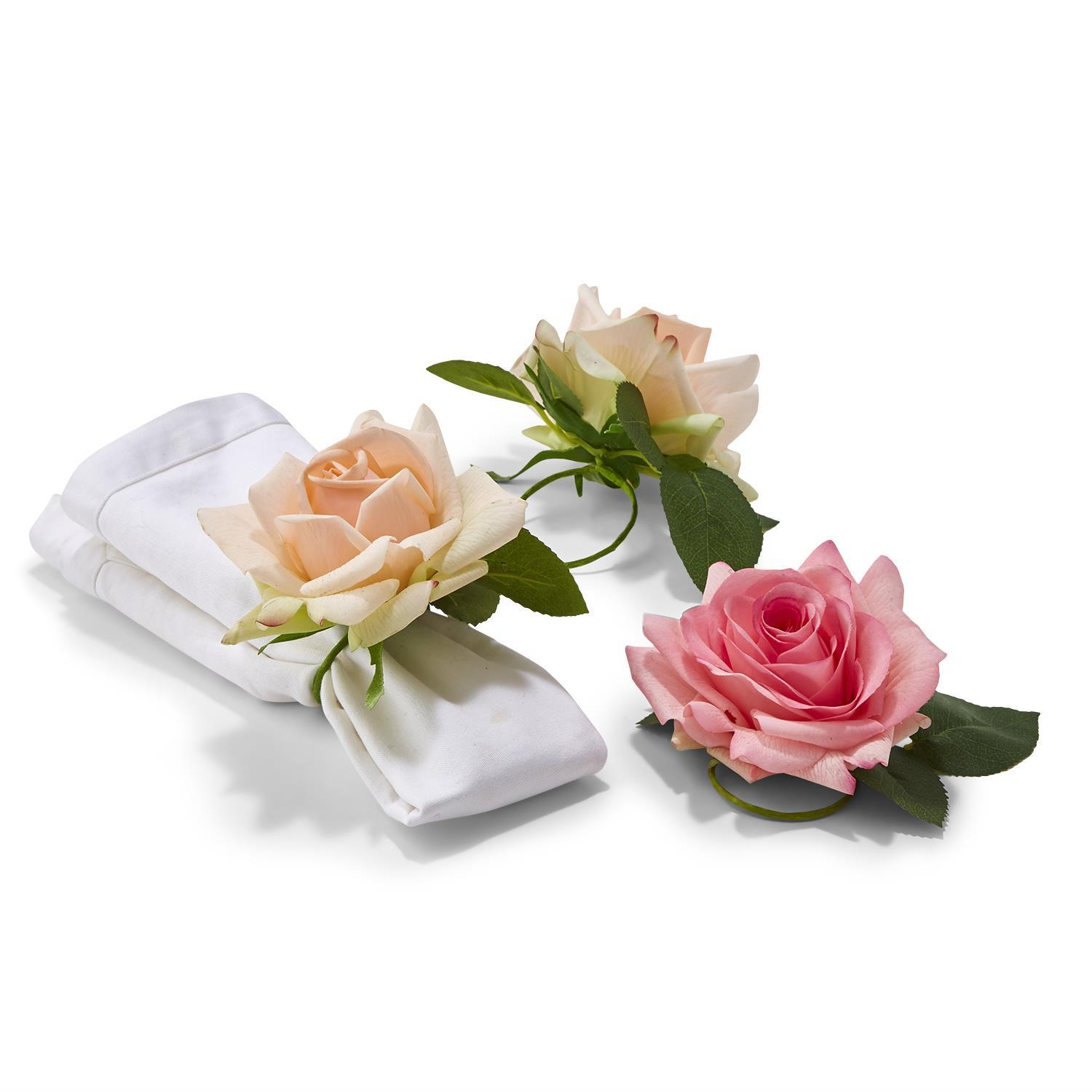 32 Pc Rose Napkin Ring Un Incl 2 Colors In Basket