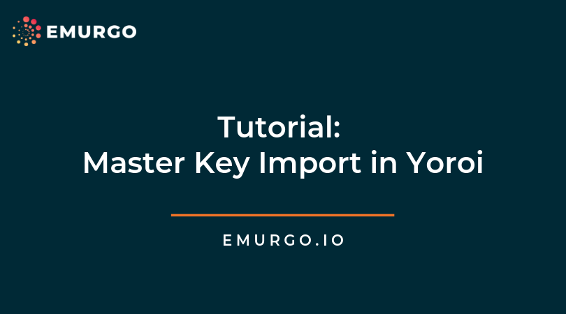 Tutorial: Master Key Import in Yoroi