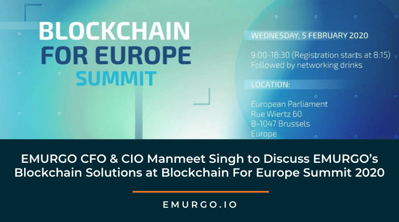 EMURGO CFO & CIO Manmeet Singh to Discuss EMURGO's Blockchain Solutions at Blockchain For Europe Summit 2020